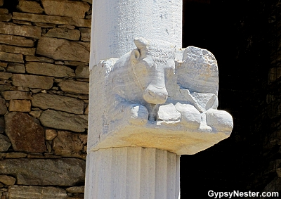 Column art in Delos, Greece