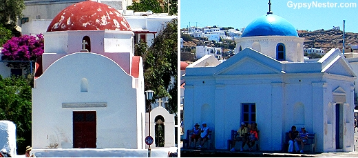 Fisherman churches in Mykonos Greece
