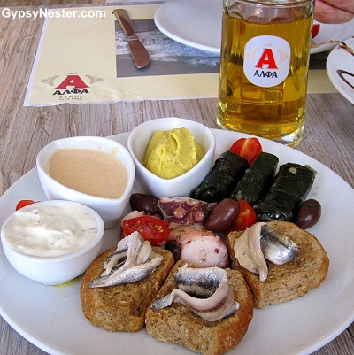 Seafood and Alpha Beer sampling in Mykonos, Greece