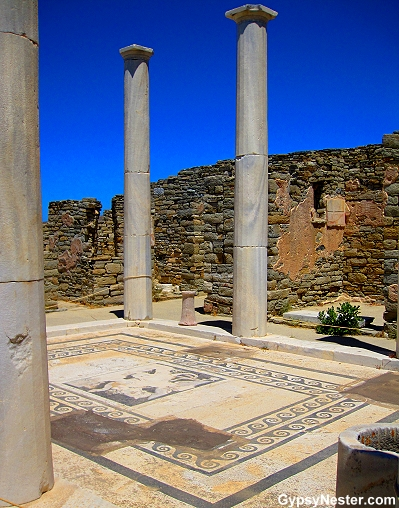 Delos' House of Dionysus with their mosaic tile floors