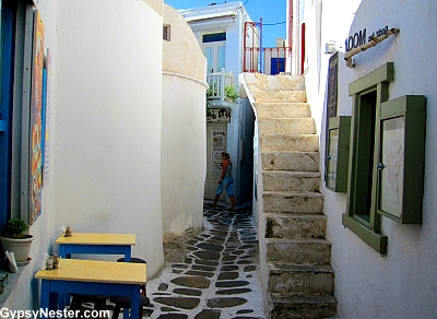 An out of the way alley in Mykonos, Greece