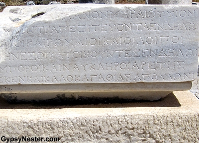 Ancient inscriptions on Delos, Greece