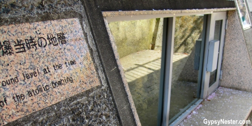 Window at ground level at the epicenter of the atomic bomb in Nagasaki, Japan