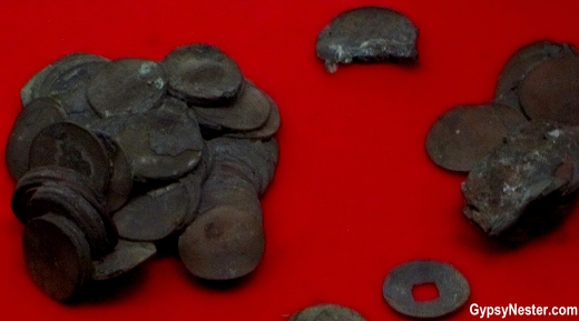 Coins fused together at the Atomic Bomb Museum, Nagasaki, Japan