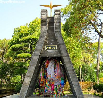 Monument filled with paper cranes at Nagasaki's Peace Garden
