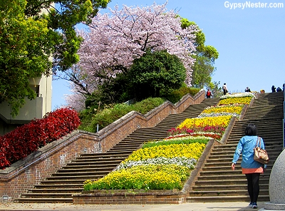 The stairs at the Peace Garden in Nagasaki, Japan
