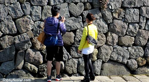 Heart shaped rock near Spectacle Bridge in Nagasaki