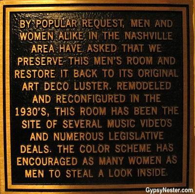 The sign outside of the Hermitage Hotel's famous bathroom in Nashville