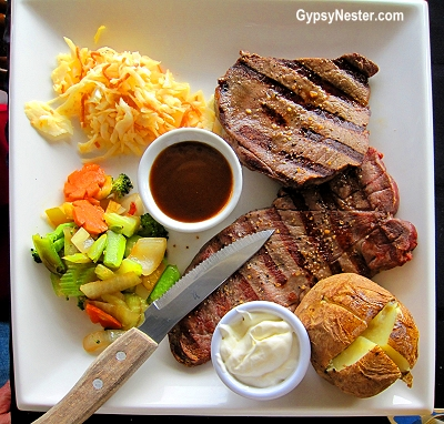 Moose steak at Chucky's Seafood and Wildgame Restaurant in Happy Adventure, Newfoundland