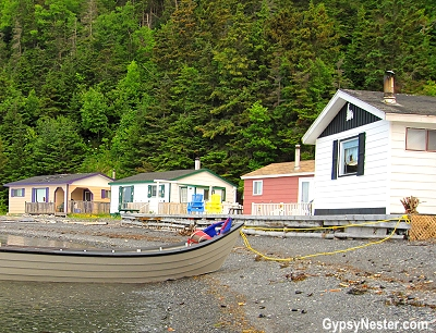 Fisherman's cabins, only accessible by boat, in Newfoundland