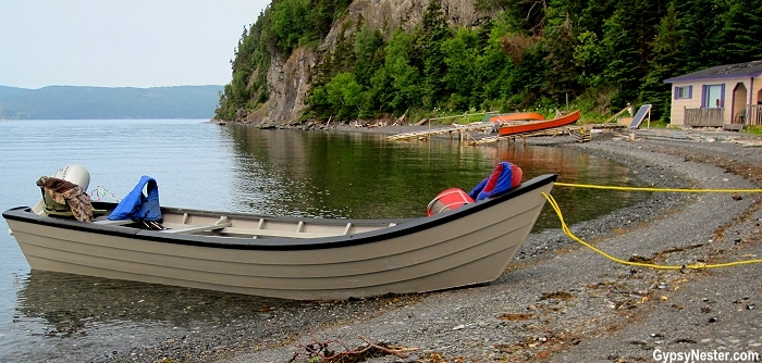 A traditional Newfoundland dory! We took a took of Bay of Islands in it!