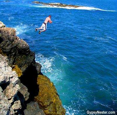 Diving off the sea cliffs in Newport, Rhode Island