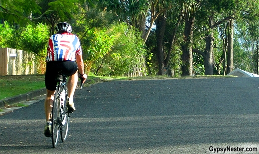 A MAMIL, middle aged man in lycra in Noosa, Queensland, Australia