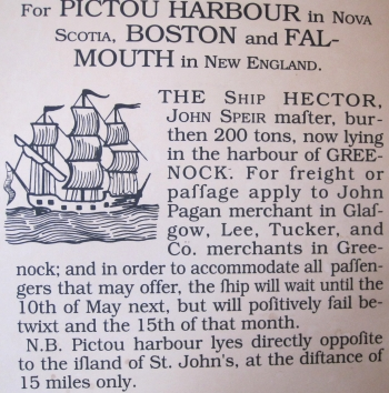 Ad for the Hector in Pictou, Nova Scotia