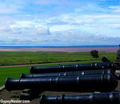 Canons at Fort Beauséjour in New Brunswick, Canada