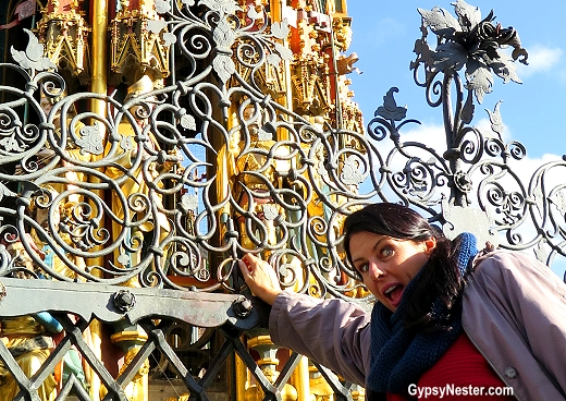 Spinning the brass ring on the fountain in Nuremburg, Germany brings good luck!