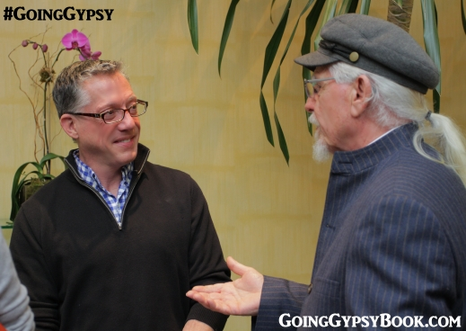 Author and playwright, Arthur Wooten converses with Indy Stewart, Veronica's dad (G-Pa Larry in Going Gypsy) at the Going Gypsy book release party in New York City http://www.goinggypsybook.com