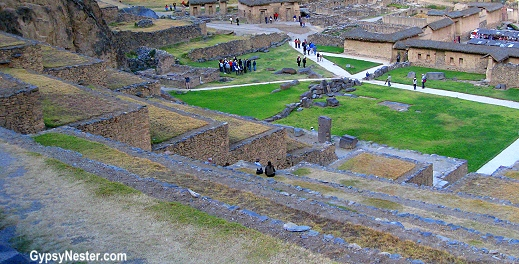 The bulk of the Ollantaytambo archaeological site is covered by huge stone terracing that was specially designed to transform the impossibly steep hillside into usable crop land.