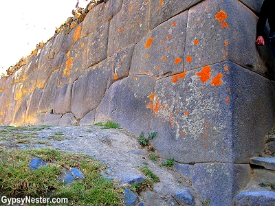 The massive stones fit together tightly at Ollantaytambo, Peru