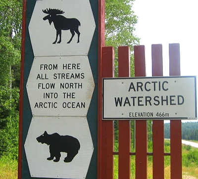 Arctic Watershed sign in Northern Ontario