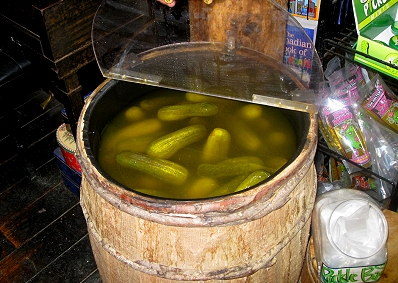 The pickle barrel at Young's General Store in Wawa
