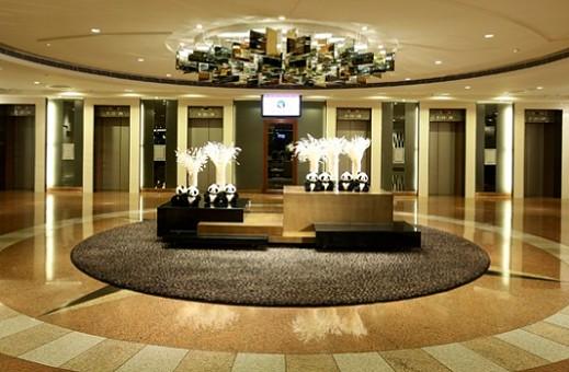 The lobby of the Panda Hotel in Hong Kong