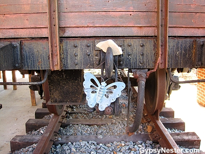 The back of the train filled with paper clips in Whitwell Tennesee