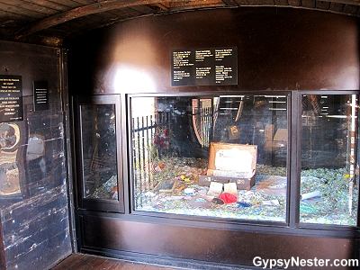 Inside the train car of the Children's Holocaust Memorial