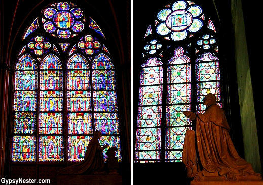 Stained glass windows in Notre Dame Catherdal, Paris, France