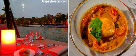 The food on our dinner cruise on the River Seine in Paris, France