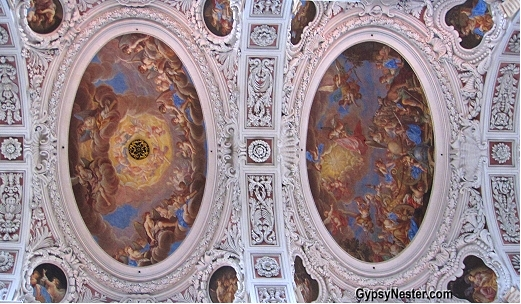The frescoes on the ceiling of St. Stephen's Cathedral in Passau, Germany