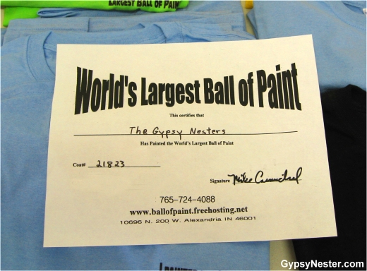 Our Certificate for adding a layer to the World's Largest Ball of Paint