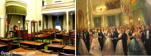 The chamber where governmental duties are still performed. Hanging on a wall nearby is a painting of the ball that commemorated the signing of the confederation - same room!