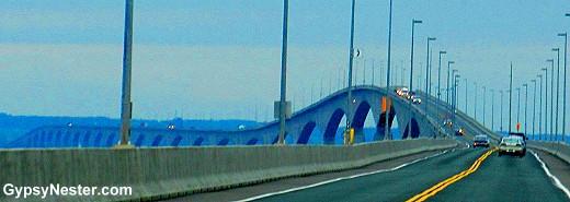 Driving over the Confederation Bridge to Prince Edward Island