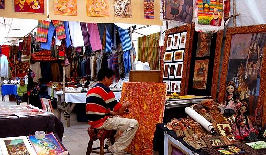 open air market in the town of Pisac, Peru