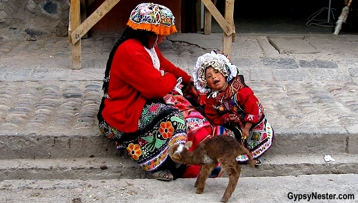 open air market in the town of Pisac, Peru