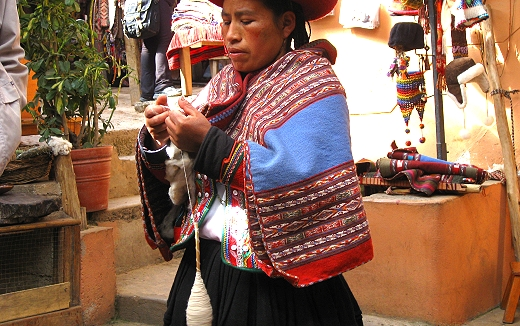 Spinning yarn at the weaving cooperative in Chincheros, Peru