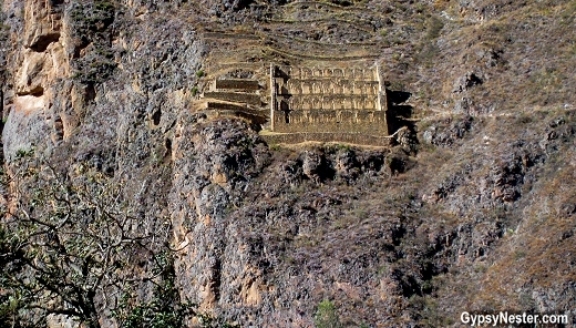 Grain storage buildings at Ollantaytambo, Peru