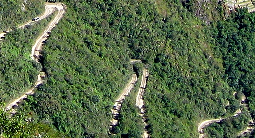 The road to Machu Picchu has thirteen switchbacks for the busses