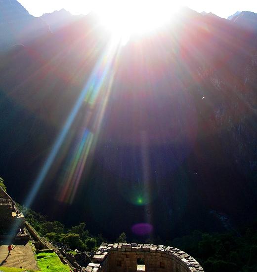 Sunrise at the Temple of the Sun in Machu Picchu Peru