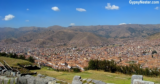 View of Cusco from the Sacsayhuaman ruins in Cusco, Peru