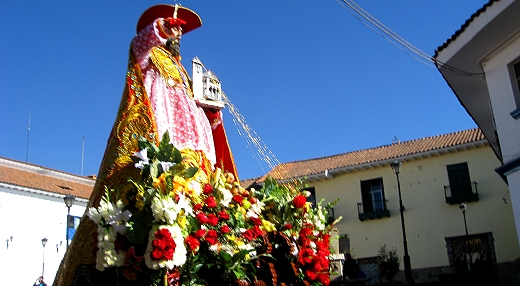 St. Jerome being carried through the streets of Cusco, Peru