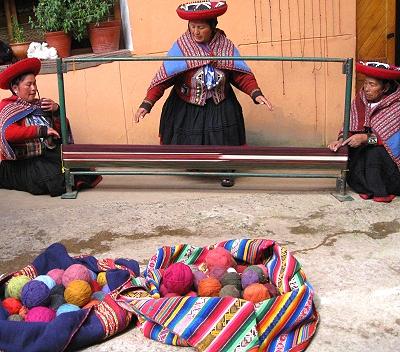 A four post weaving loom in Peru