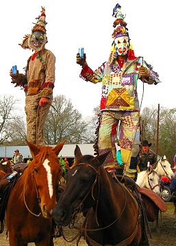 Dancing on horseback during Courir de Mardi Gras in Rural Louisiana