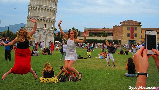 Trying to fix the leaning tower of Pisa by jumping!