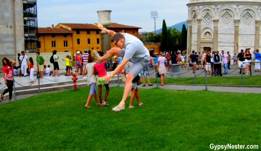 Leaping to right the leaning tower of Pisa