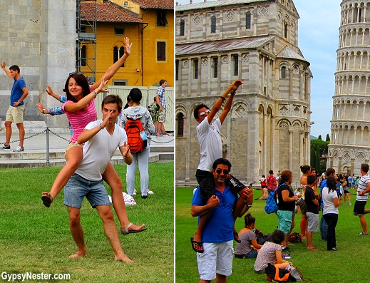 Holding up the leaning tower of Pisa on piggyback!
