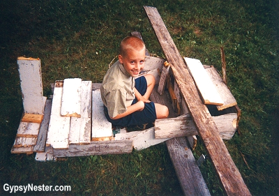 Our son, The Boy, built a plane out of plywood. GypsyNester