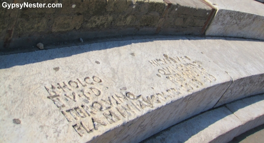 Names engraved on the seats at Pompeii's amphitheater