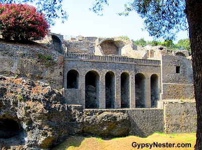 The outer wall of Pompeii, Italy